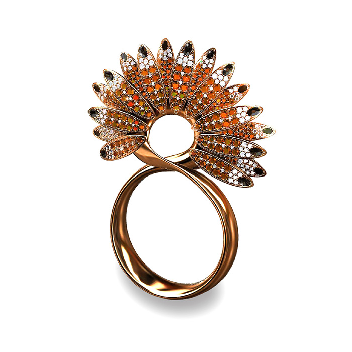 "Inacio CATARINA NETO<br>Bague ""Infinity Hoopoes"""