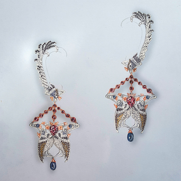 "Madeli VILJOEN<br>Boucles d'oreilles ""Little bustards of France"""