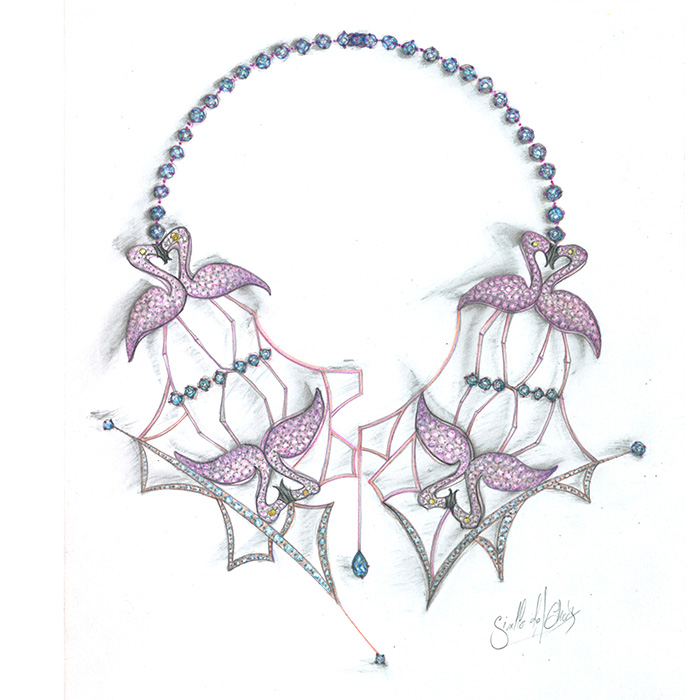 "Gisella ZAMBRANO<br>Collier ""Flamants Roses"""